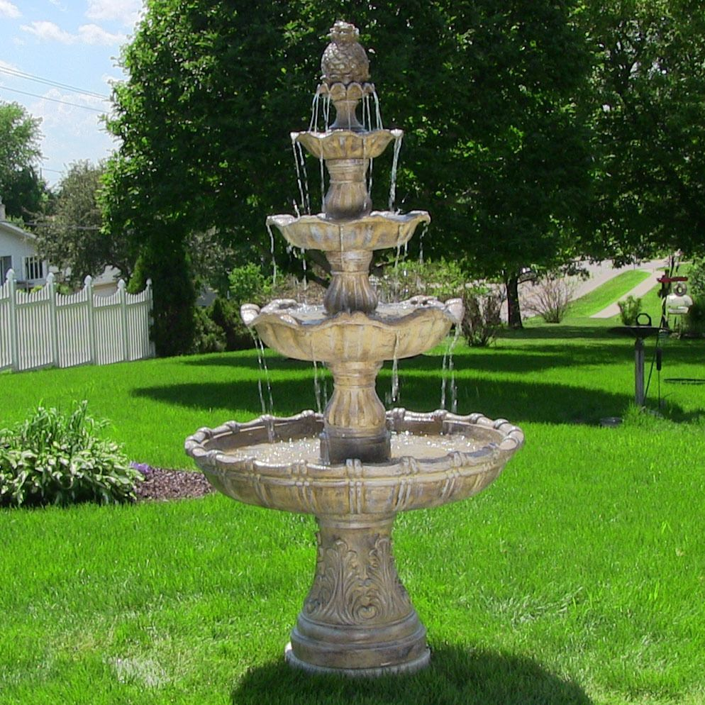 4 tier outdoor waterfall fountain electric pump yard for Tiered pond waterfall