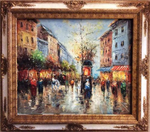 Framed Oil Painting Museum Quality Paris Street View In Antique Wooden Frame Ebay Painting Framed Oil Painting Realism Art