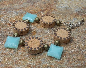 Sea Glass Wine Cork Bracelet