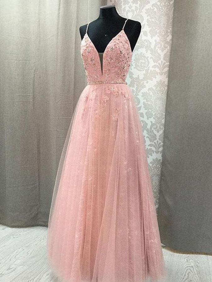 c47bc1d0b65 Pink Prom Dresses with Straps Aline Floor-length Appliques Long Lace Open  Back Prom Dress JKL1488
