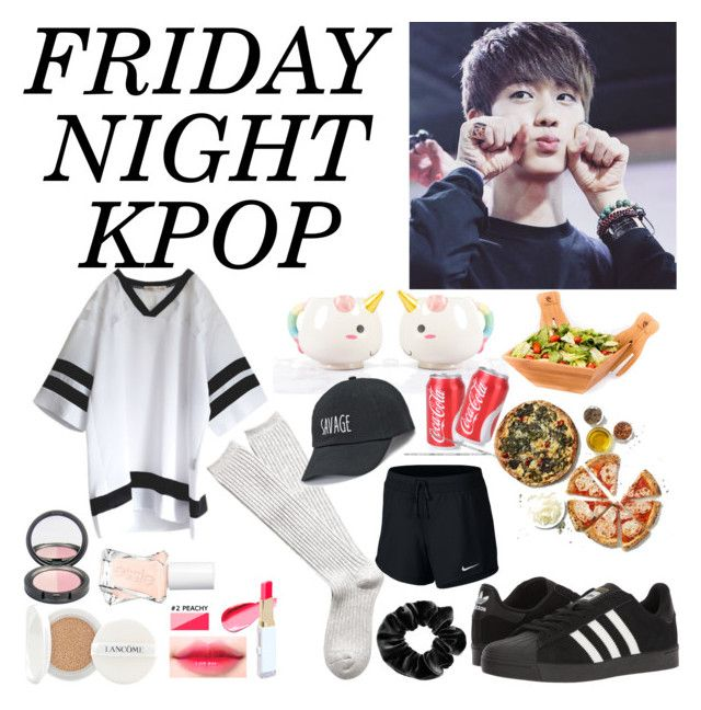 """Friday NIGHT +kpop love"" by lauralydix on Polyvore featuring adidas, Lancôme, Essie, Witchery, Elodie, Disney, NIKE, claire's and SO"
