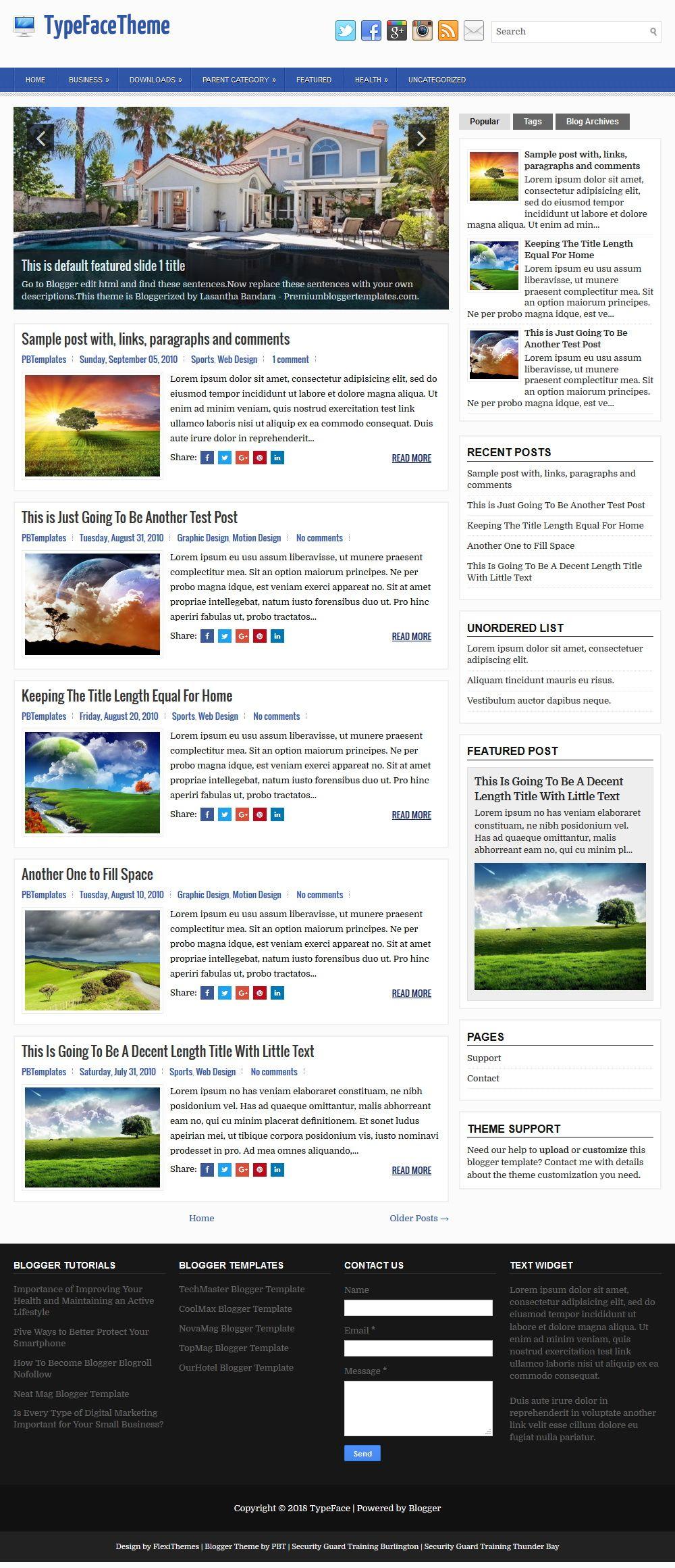 TypeFace Blogger Template | Blogger templates, Social ...