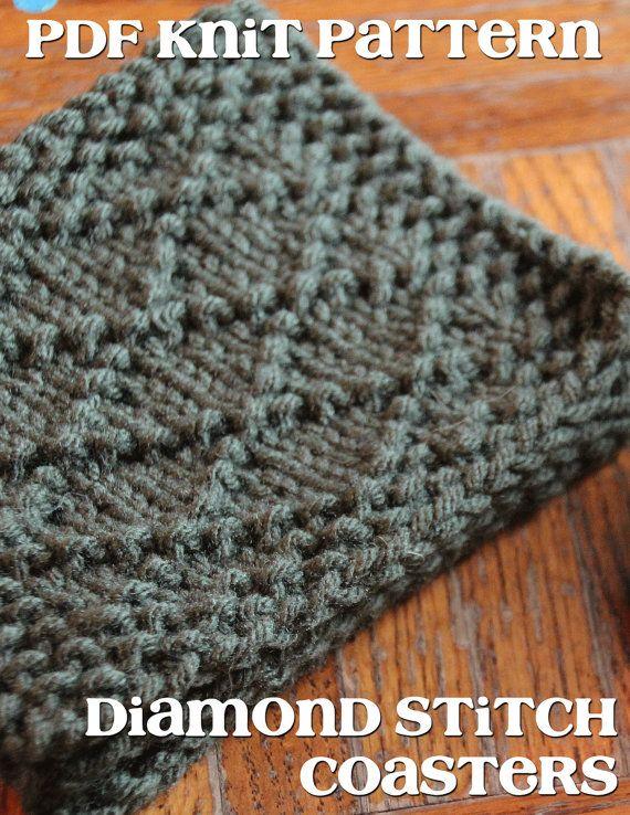 Pdf Pattern Knit Diamond Stitch Coasters Knitting Frenzy