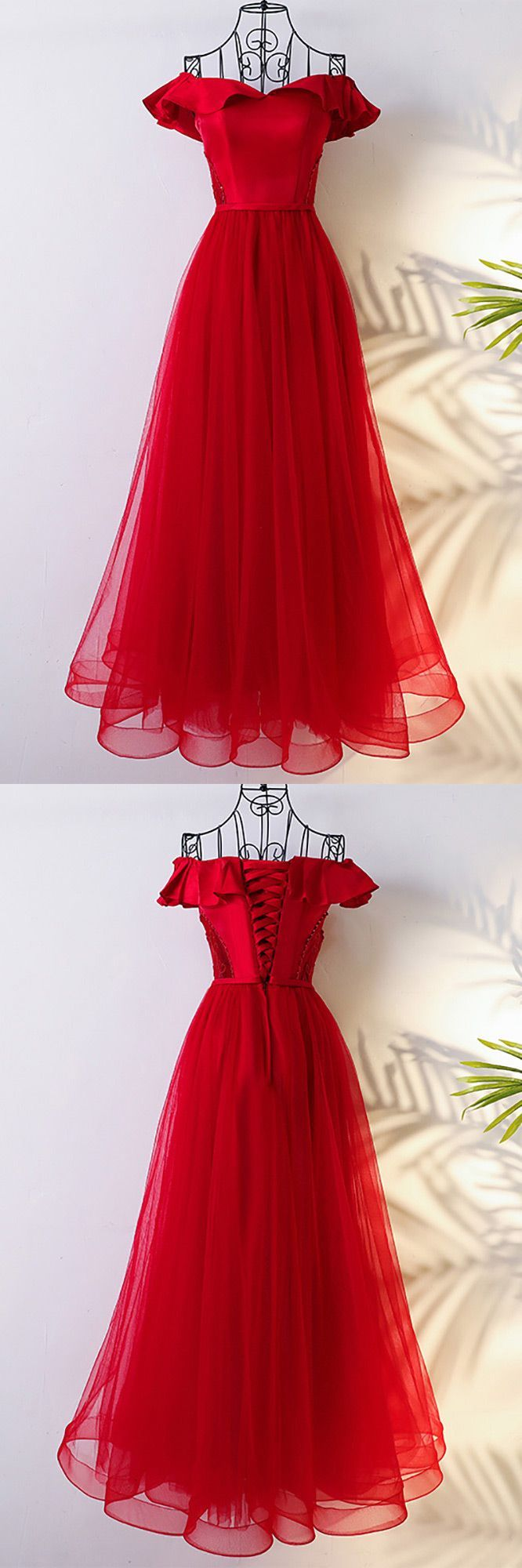 Lovely red off the shoulder bridal party formal dress long