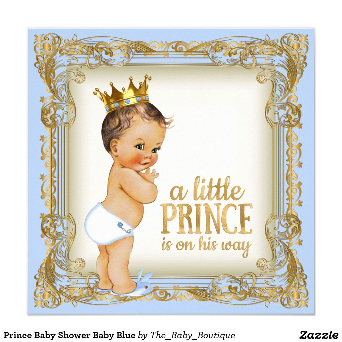 Prince Baby Shower Baby Blue Card | Baby blue, Babies and Baby ...