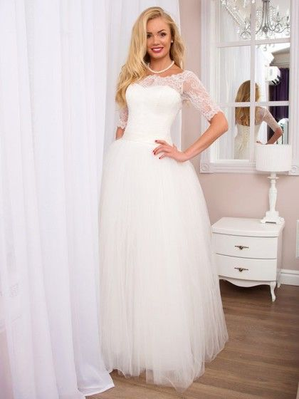 Sweet White A-line Scoop Neck Tulle Floor-length Lace 1/2 Sleeve Wedding Dresses #DGD00022525
