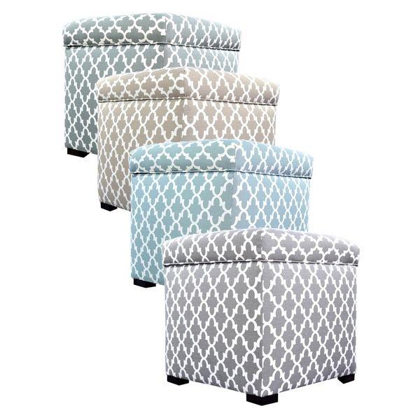 The Sole Secret Mini Square Fulton Upholstered Shoe Storage Ottoman |  Overstock.com Shopping