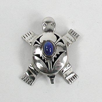 Native American Sterling Silver Turtle pin pendant by Navajo Bennie Ration