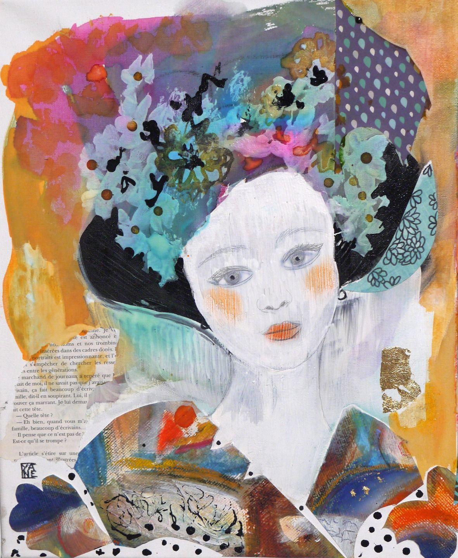 Tableau Carré Art Contemporain Peinture Acrylique Portrait Femme