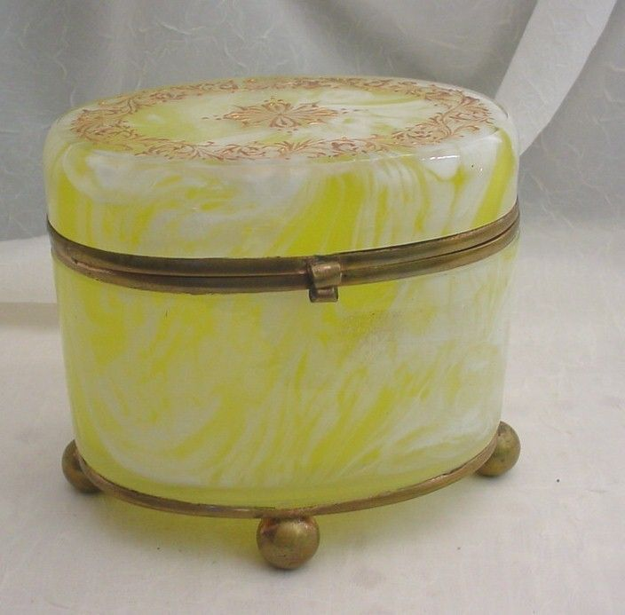 BOHEMIAN OVAL LEMON SWIRL ART GLASS HINGED BOX | eBay