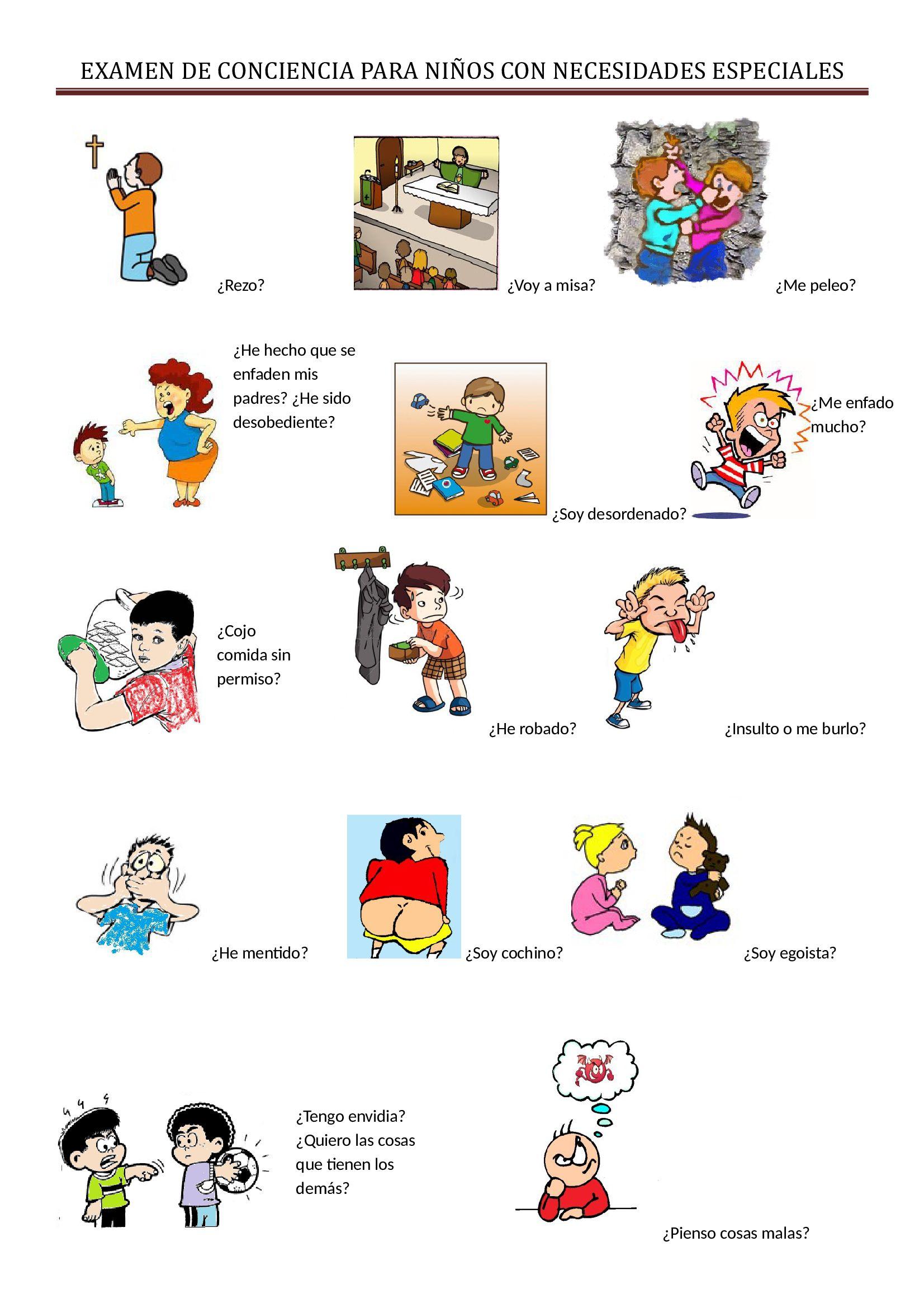 examen de conciencia para niños con necesidades especiales ...