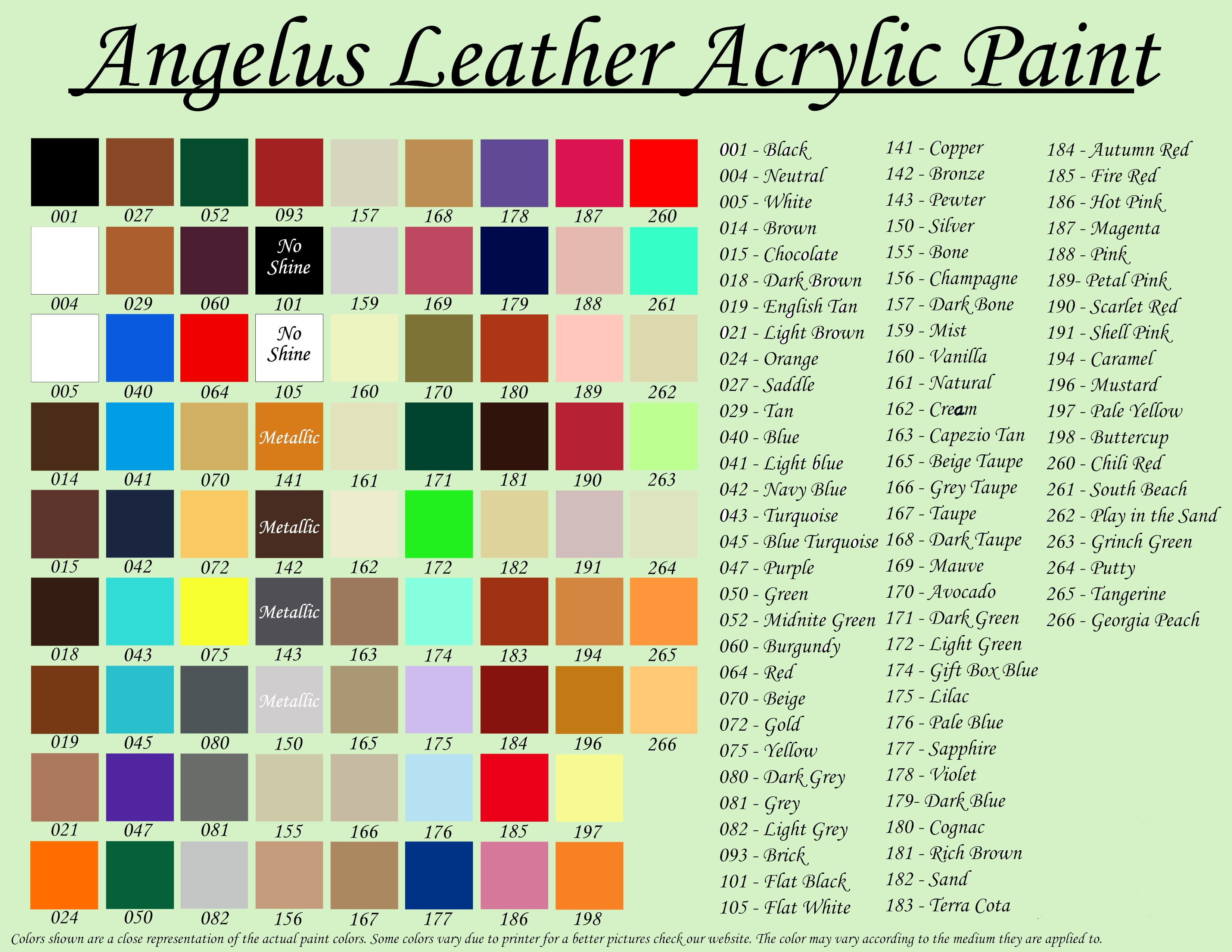 Angelus Color Chart - My Shoe Repair Specialist - Kande Shoe Repairs ...