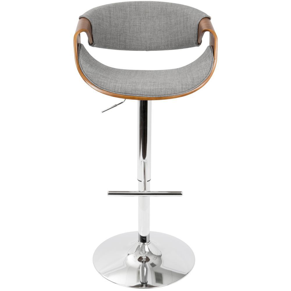Lumisource Curvo Walnut And Light Grey Adjustable Barstool Light Grey Walnut Adjustable Bar Stools Bar Stools Swivel Bar Stools