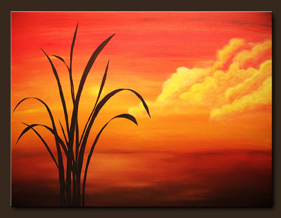 Landscape Abstract Paintings Sunset Palm