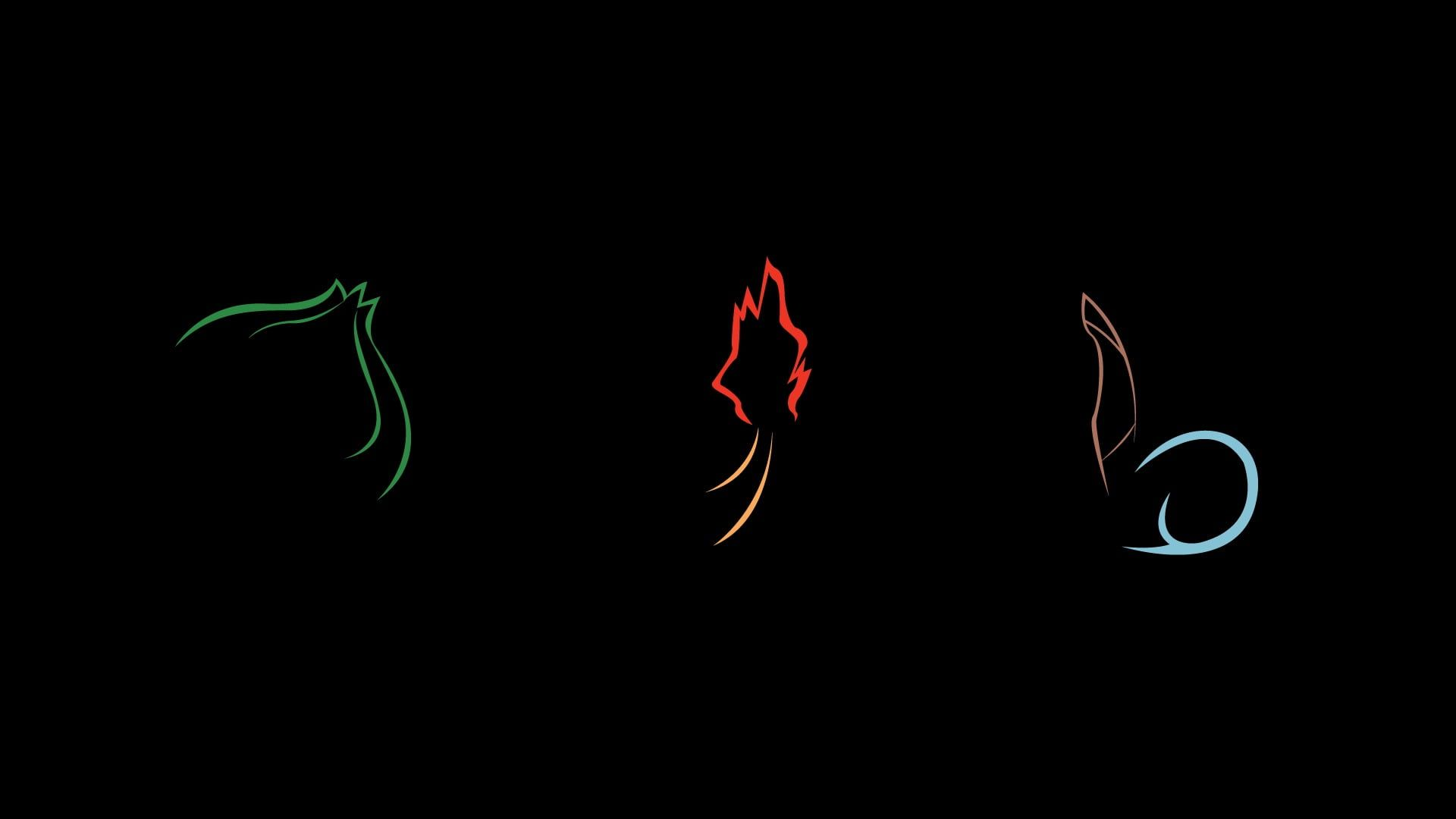 Green Red And Blue Illustrations Minimalism Dark Black Pokemon Elements Charmander Bulbasaur Squirtle 1080p Wallpape Pokemon Wallpaper Illustration