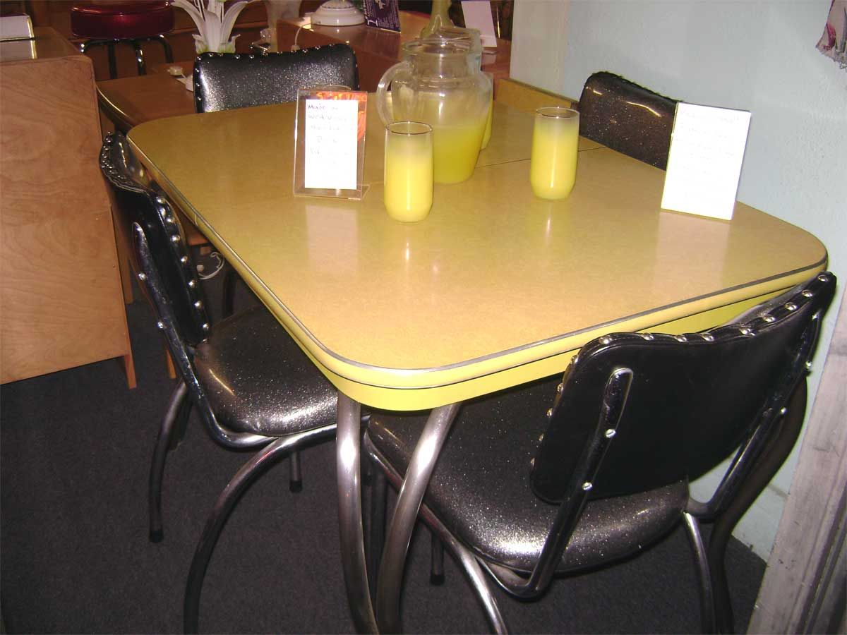 Yellow Formica With Black Chairs Kitchen Dinette Sets Dinette Kitchen Table Dinette Sets