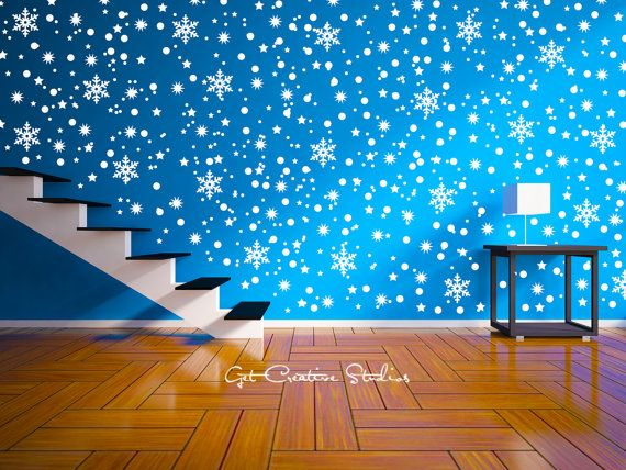 Snow Decal Snowflake Wall Decal Sticker Snow Por GetCreativeStudios