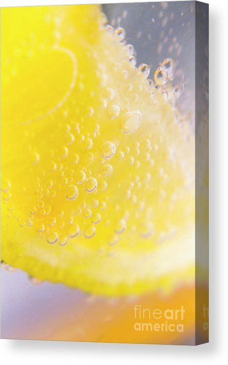 Closeup Canvas Print featuring the photograph Macro Lemonade Bubbles by Jorgo Photography - Wall Art Gallery