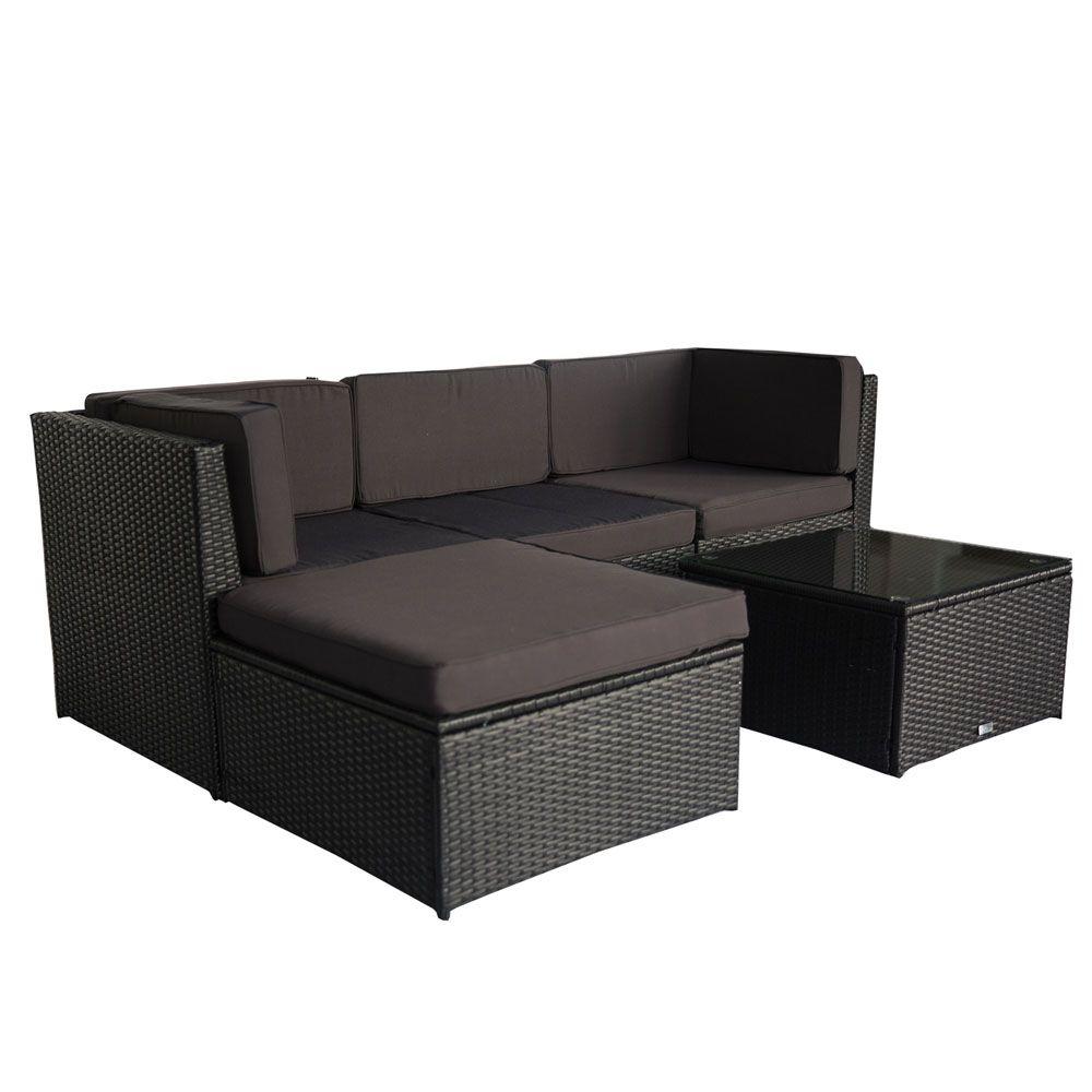 Buy Luxo Muara Wicker Outdoor Sofa Setting Black Online