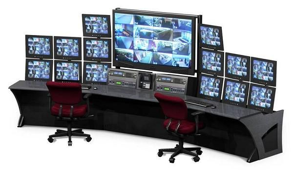 multiple monitor security system console multi screen lcd workstation 2 office desk system de. Black Bedroom Furniture Sets. Home Design Ideas
