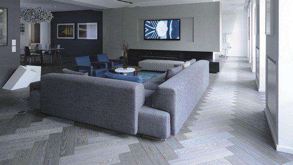 Gray Wooden Flooring Living Room Design Ideas Sofa Blue Accents