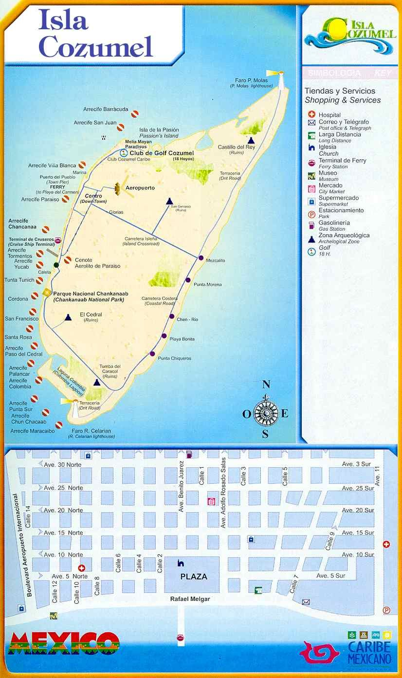 Activities On Cozumel Large Cozumel Maps for Free Download High