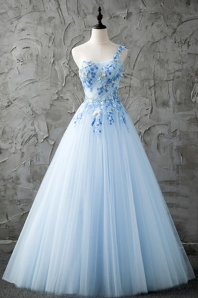 Fresh Blue Tulle One Shoulder A-line Long Prom Dress With Appliques – Dress