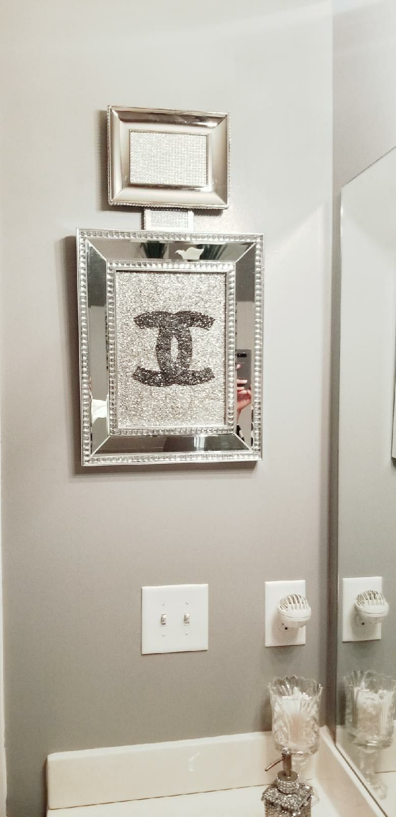Chanel Bottle Bathroom Wall Decor Created From Picture Frames Glam Wall Decor Decor Wall Decor Bedroom