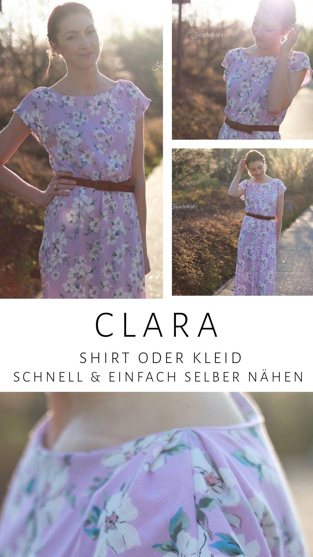 Clara Shirt oder Kleid | Schnittmuster kleid, Sommerkleid ...