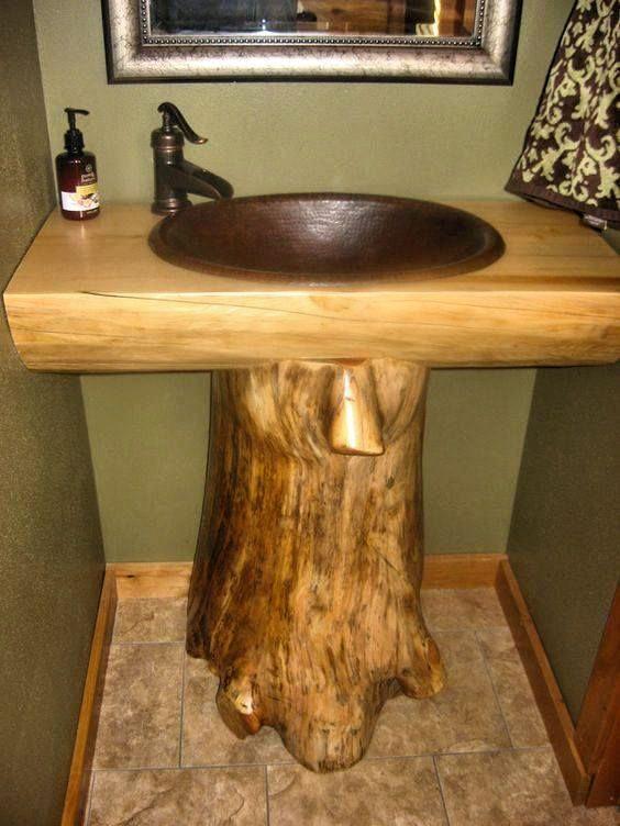 tree stump base sink rustic and wild pinterest tree log cabin bathroom vanity lights log wood bathroom vanity