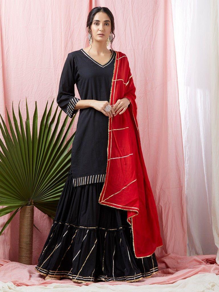 638c9495aa Black Gota Embroidered Cotton Mulmul Kurta with Sharara and Red Dupatta -  Set of 3