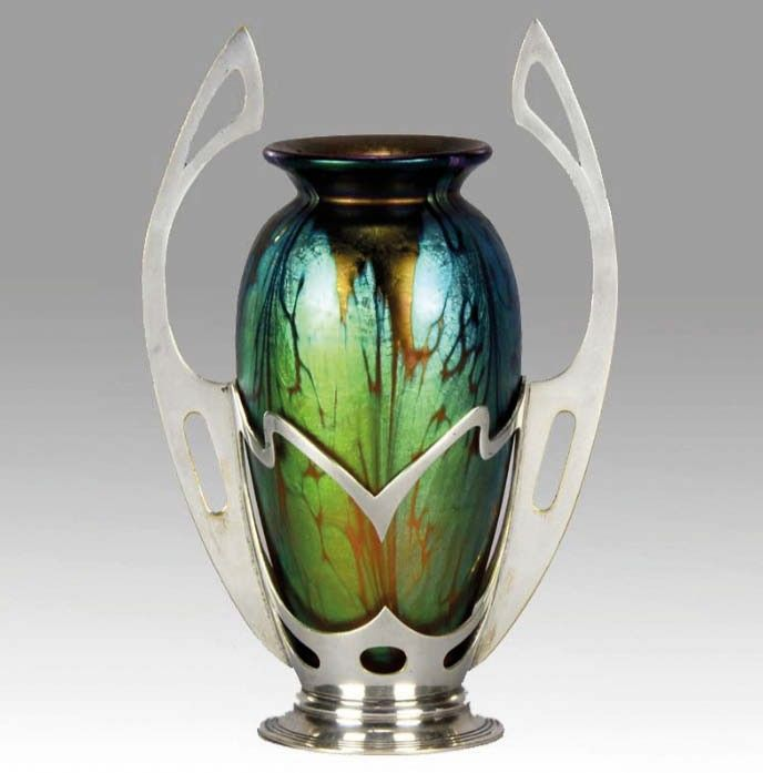 1900 Johan Loetz. 18cm high £3350 Transition from Art Nouveau, European Seessionist and Arts and Crafts movements into art deco age.