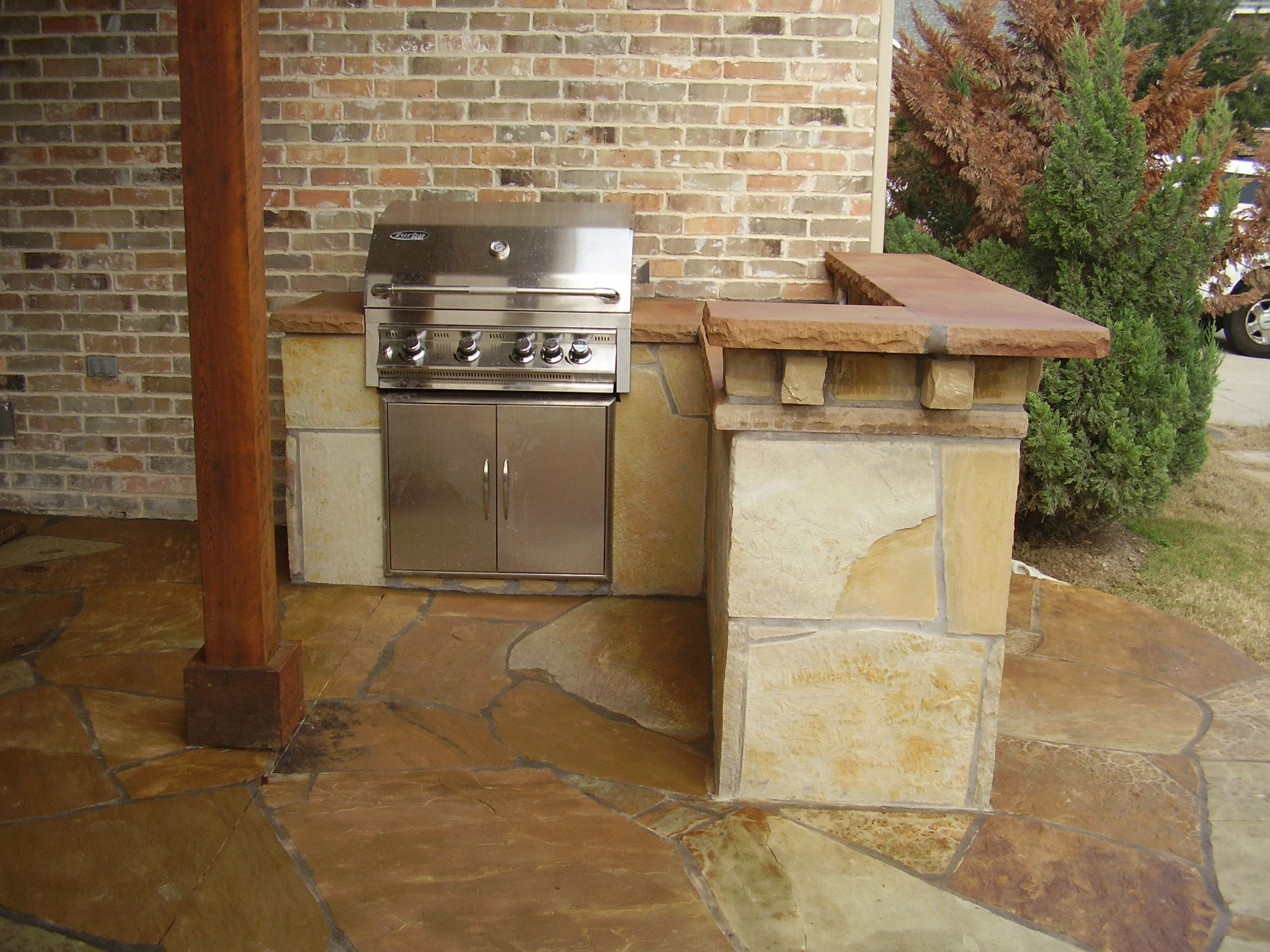 Outdoor Kitchen Outdoor Kitchen Outdoor Living Space Flagstone Flooring