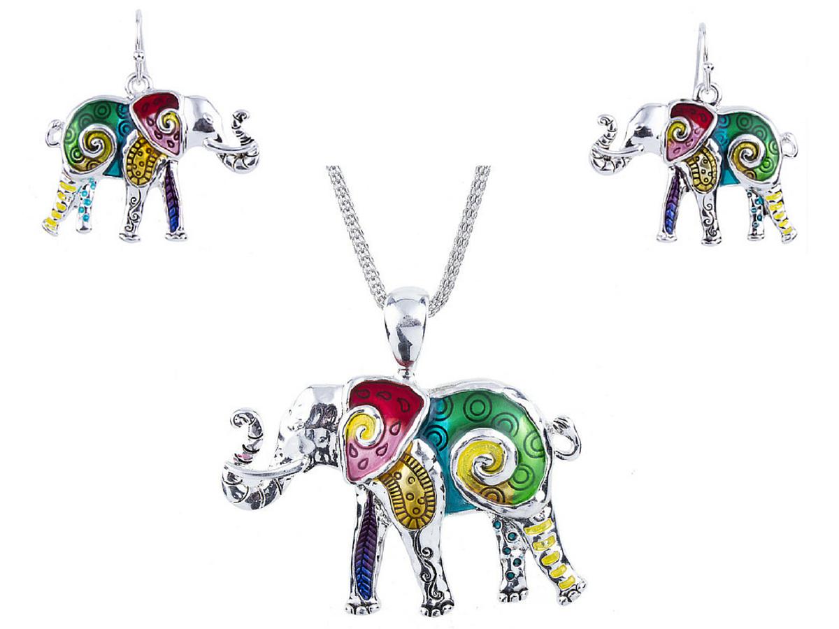 Enamel Elephant Pendant Quirky Elephant Necklace Funky Fashion Jewellery