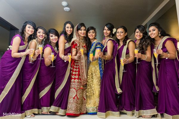 Indian Bridal Party Portrait In Dallas TX Wedding By MnMfoto