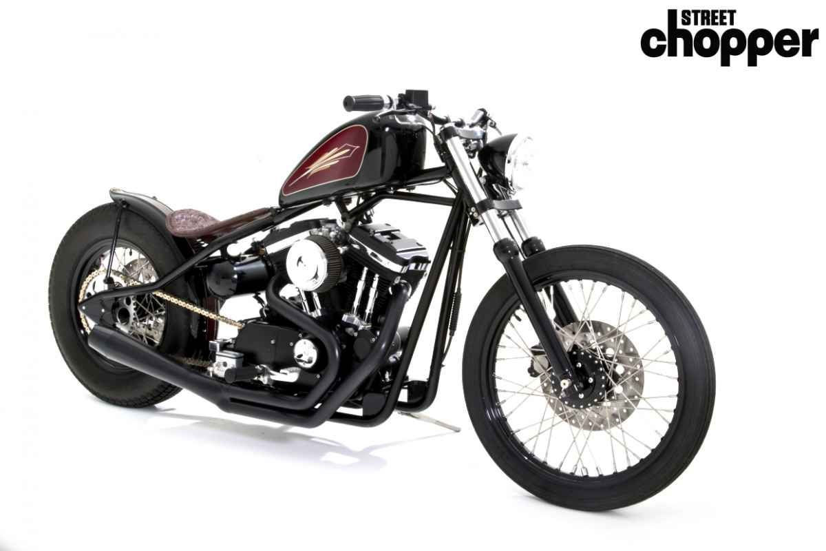 Evo sportster 1200 hardtail custom made from salvage yard