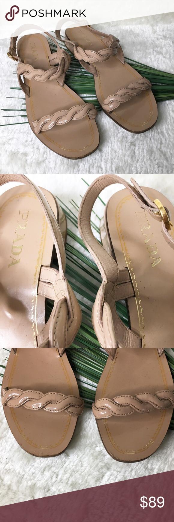 e0dbc5aae95ee0 Prada Blush Braided Patent Leather Sandals Size 10 Blush Prada Patent  Leather Braided T Strap Sandals