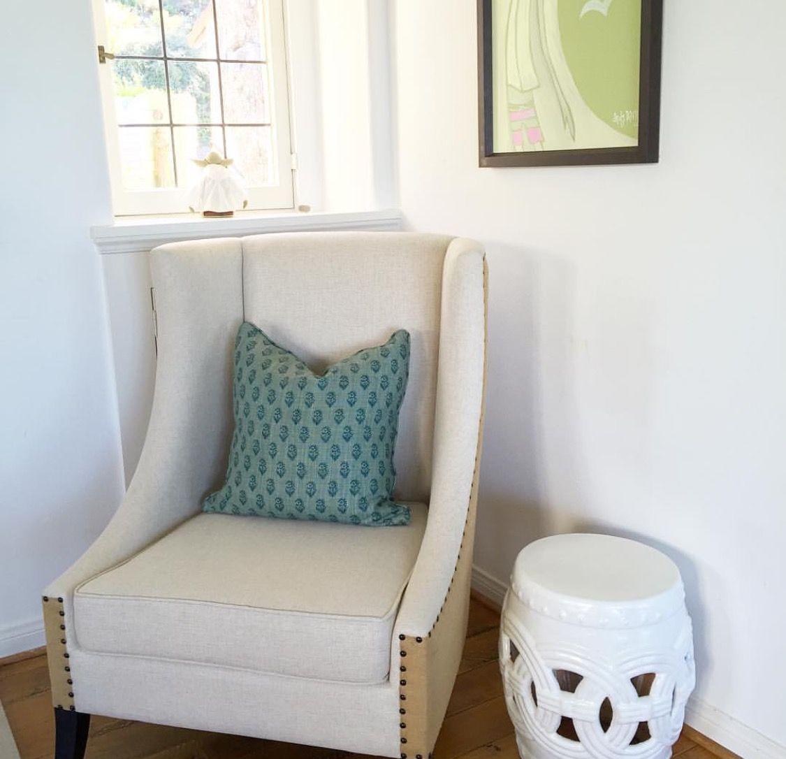 Peter Dunham Rajmata tonal blue/blue pillow Noir chair Wisteria garden stool by & Peter Dunham Rajmata tonal blue/blue pillow Noir chair Wisteria ... islam-shia.org