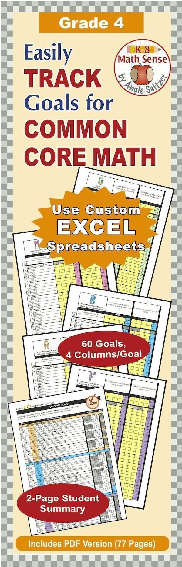 Use this customized Excel file to easily plan and track progress of all 60 Grade 4 math goals. View progress of the whole class or an individual student.~by Angie Seltzer