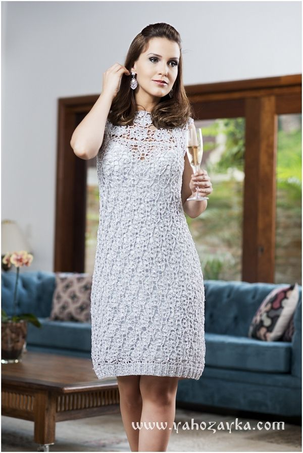 bee59e2036b Нарядное платье крючком схема. Платье крючком с красивым вырезом ...