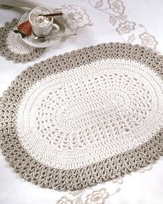 Free Oval Placemat Coaster Crochet Pattern From Redheart Com Crochet Placemat Patterns Crochet Table Runner Pattern Placemats Patterns