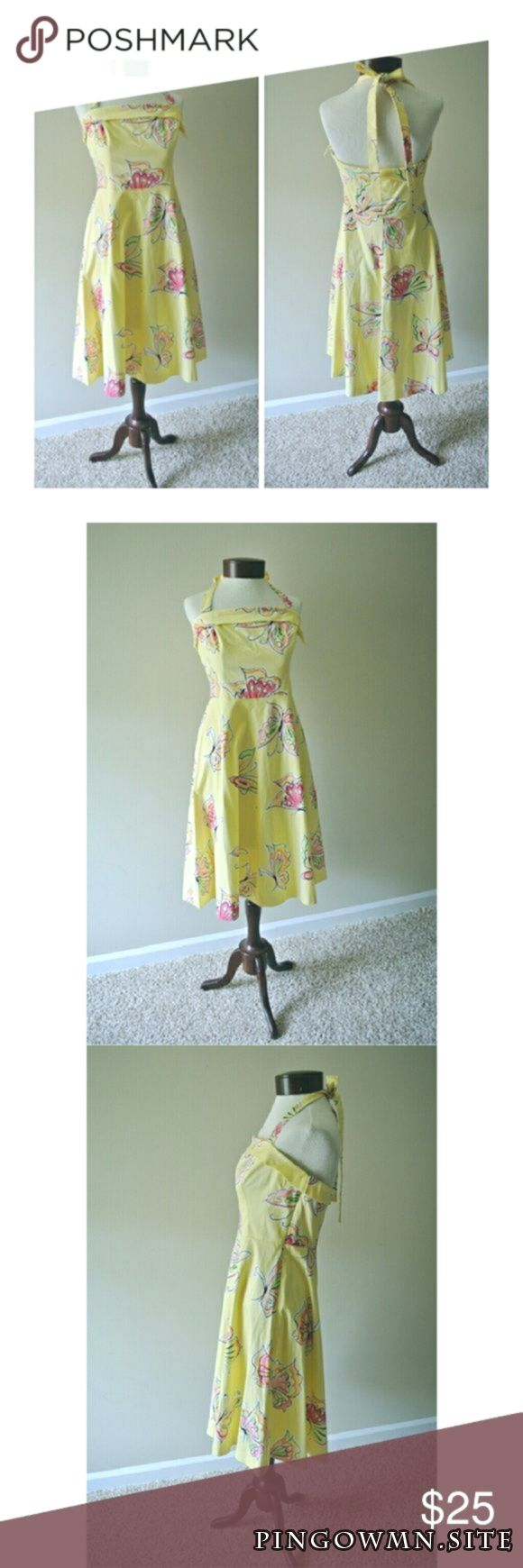 90s does 50s style dress Yellow Butterfly Print By