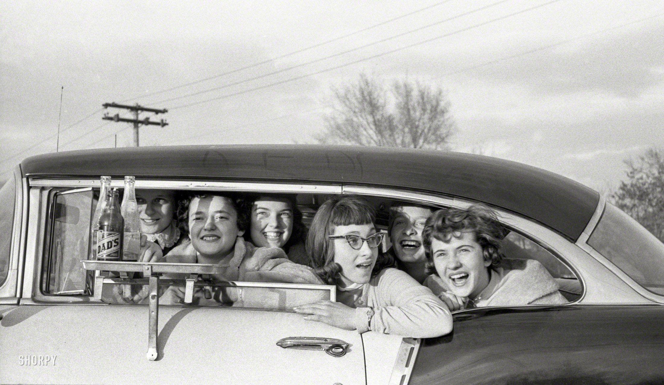 "TriFive DriveIn April 1957. ""Teenage girls in car at"