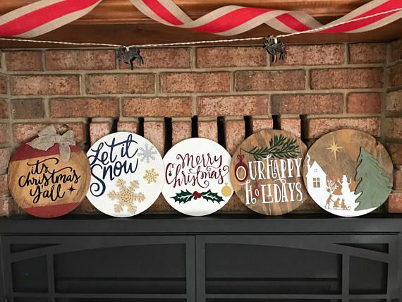 Christmas Round Wood Signs Holiday Wood Decor Holiday Signs Holiday Wood Sign Christmas Door Hanger Round Wood Sign
