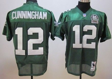 Philadelphia Eagles  12 Randall Cunningham Dark Green Throwback 99TH Jersey 10a4e254a