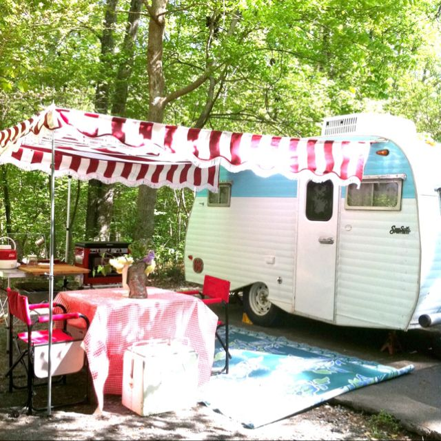 Posy with her new awning | Small camper trailers, Small ...