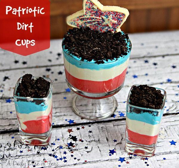 Patriotic Dirt Cups July 4th Dessert Idea 4th Of July Desserts Desserts Dirt Cake