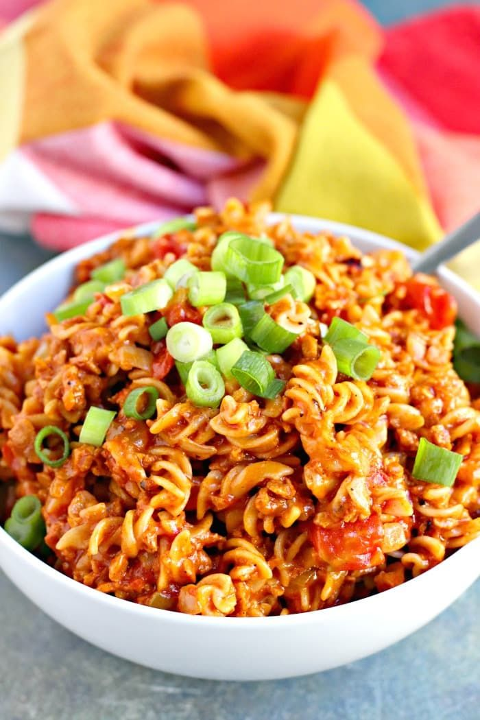 Cheesy Taco Pasta (Vegan) Cheesy Taco Pasta is delicious and easy to make. The whole family will enjoy this meatless meal any night of the week! And it's vegan with a gluten-free option. @morningstarfrms @walmart