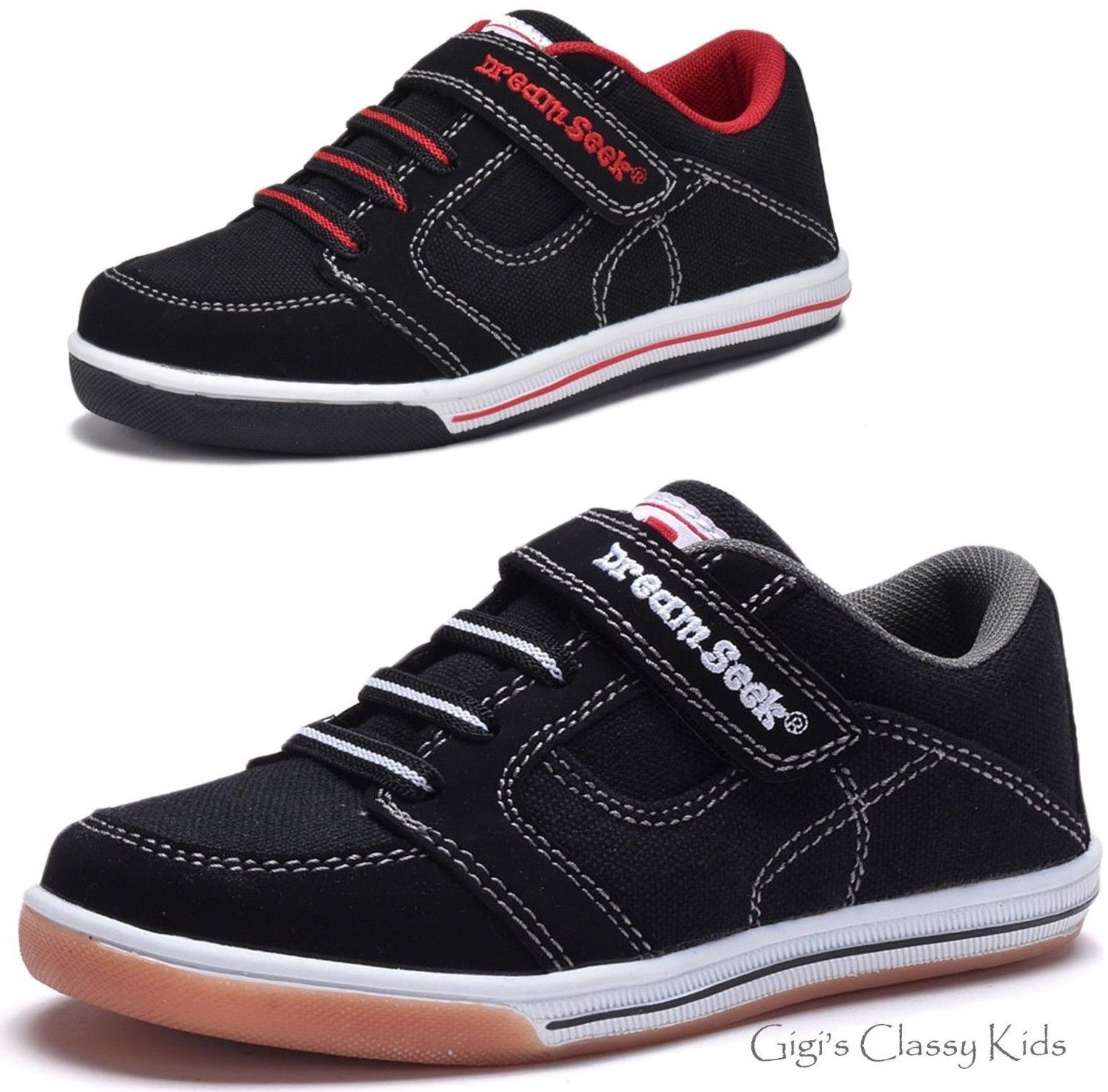 online store 3181b 8ea39 Boys Shoes 57929  New Boys Black Canvas Tennis Shoes Athletic Sneakers  Toddler Youth Kids Skate -  BUY IT NOW ONLY   19.99 on  eBay  shoes  black   canvas ...