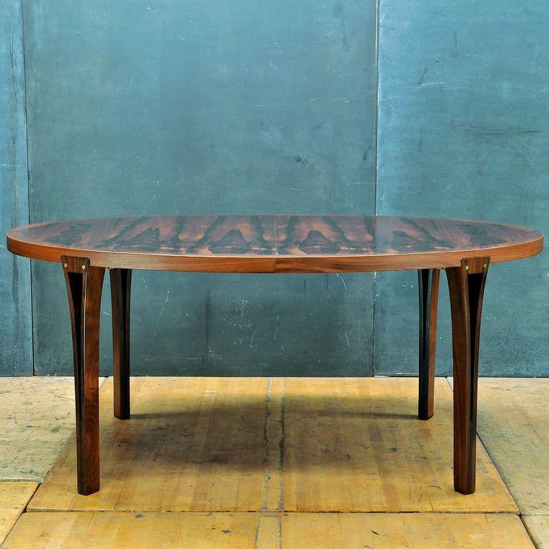 John Mortensen Rosewood And Brass Dining Table For Heltborg